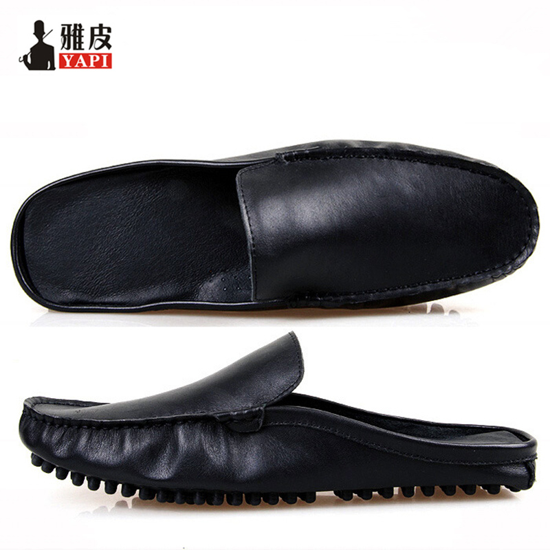 US5-10 Fashion REAL Leather Casual SLIP-ON New Men Penny Loafer Leather Mules Open Back Slippers Designer Shoes