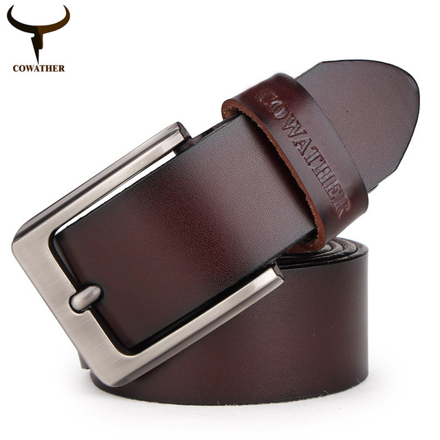 COWATHER 2016 mens cow genuine leather luxury strap male belts for men 3 colors cintos masculinos plate buckle free shipping