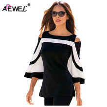 ADEWEL 2019 Spring Women Blouse Black White Colorblock Bell Sleeve Cold Shoulder Top Mujer Camisa Feminina Office Ladies Clothes cold shoulder bell sleeve backless blouse