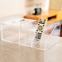 Acrylic storage box Handmade transparent tissue box Desktop multi function living room TV remote control storage box