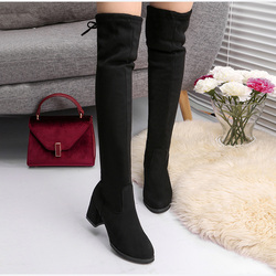 Women's Thigh High Boots Sexy Slim Stretch Cloth Over The Knee Boots Ladies Autumn Winter Square High Heels Pumps Female Shoes