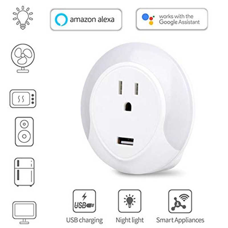 Led Notturna Intelligente Wifi Socker Con 5V Usb Charger Port, Funziona Per Alexa Google Assistente Spina Degli Stati Uniti