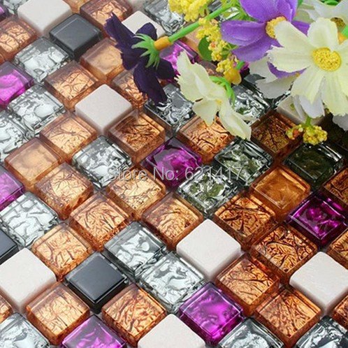 colorido mini vidrio mezclado mosaico de piedra mosaico de azulejos de mosaico backsplash de la cocina