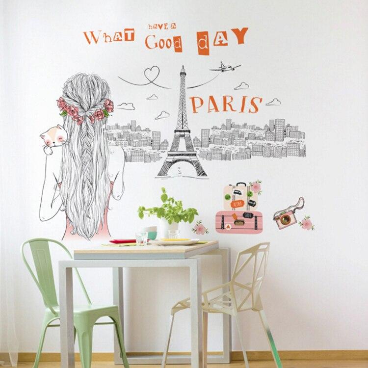 Девушка с видом на Эйфелева башня городской большие настенные наклейки домашнего декора гостиной DIY Арт Наклейки Съемный ПВХ стикер