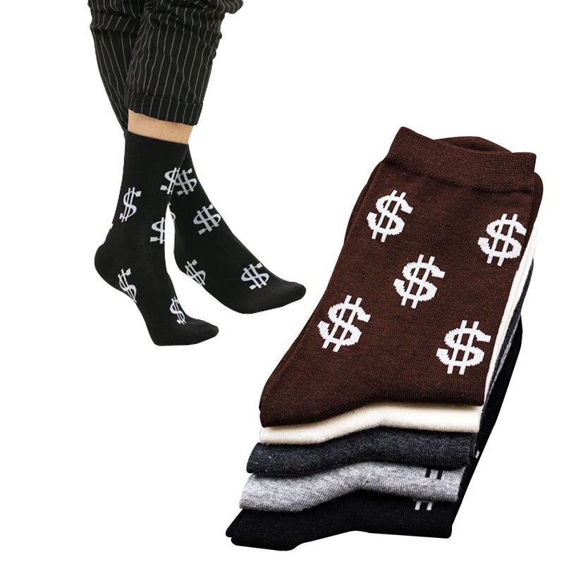 10pcs=5Pairs/lot Novelty Mens Long Socks Harajuku Money Dollar Pattern Socks Funny Cartoon Sock Pure Cotton Elegant Men Socks