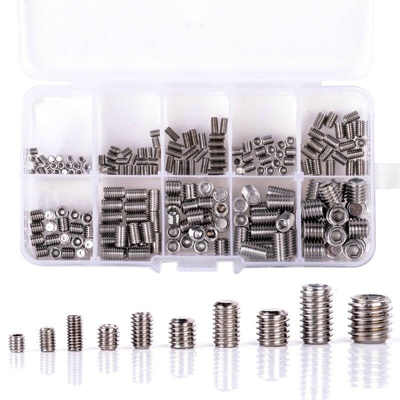 200Pcs 304 Stainless Steel Grub Screws Hex Socket Screw Assortment Kit Set M3/M4/M5/M6/M8