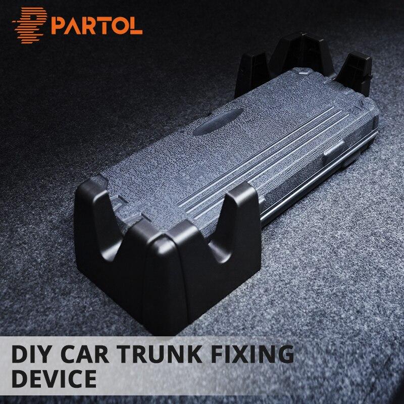 Partol Black Plastic Car Trunk organizar bloques de almacenamiento DIY Auto Trunk equipaje/Cargo Anti-desplazamiento soporte para viajar SUV