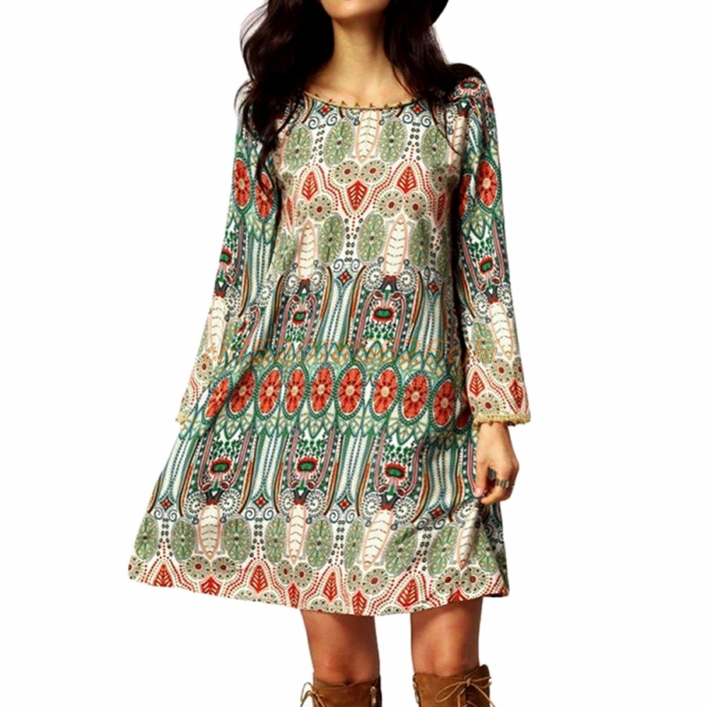 Summer Cover Up Vintage Ethnic Dress Sexy Women Floral Printed Beach Dress Loose Sundress  #H030#