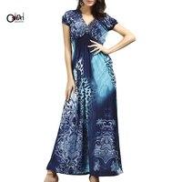 Osunlin Women's Summer New Bohemian Leopard Print Beach Dress Large Size Ice Silk Vintage Dress
