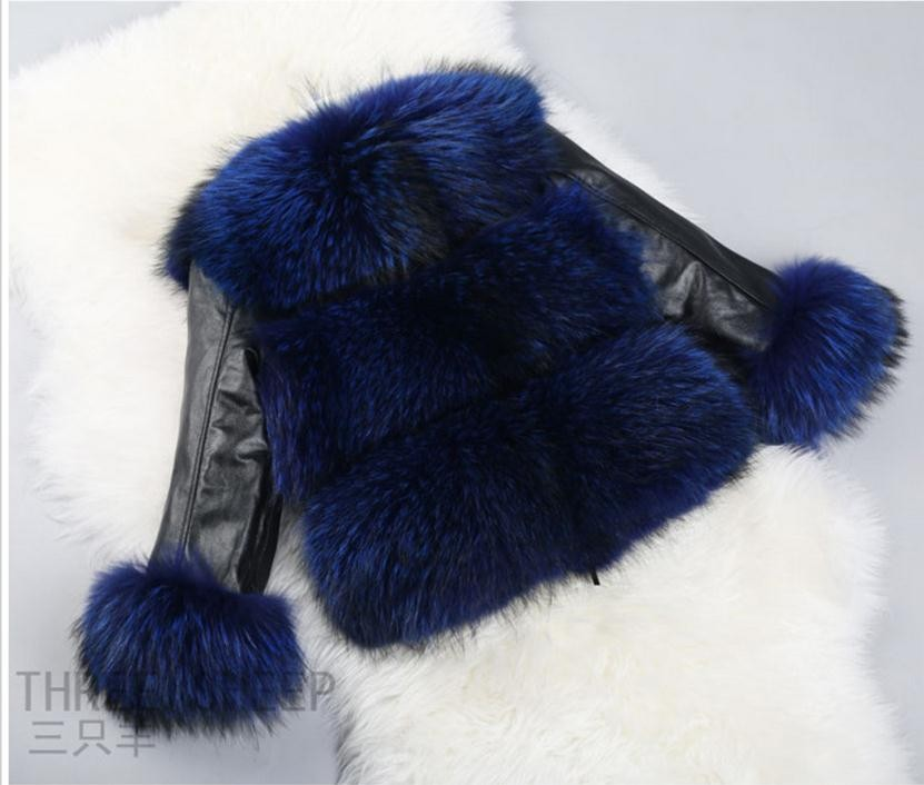 S/6Xl Womens Short Section Imitation Fox Fur Coat Leather Patchwork Jacket Arge Size Faux Fur Coats Man-Made Fur Outwear K577
