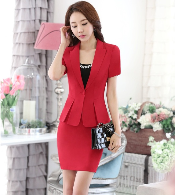 Novelty Red OL Styles Slim Fashion 2016 Summer Short Sleeve Professional Jackets And Skirt Uniforms Female Outfits Blazers