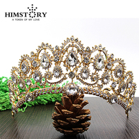 Luxurious Gold Plated Crystal Vintage Peacock Bridal Hair Accessories For Wedding Quinceanera Tiara Crown Pageant Diamante