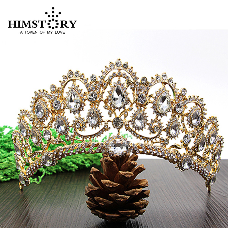 HIMSTORY Luxurious Crystal Vintage Peacock Bridal Hair Accessories For Wedding Quinceanera Tiara Crown Pageant Diamante Tiara