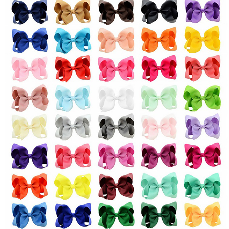 40Color 4Inch Fashion Ribbon Bow Hairpin Clips Girls Bowknot Headwear Kid Hair Boutique Bows Baby Hair Children's Accessories O1