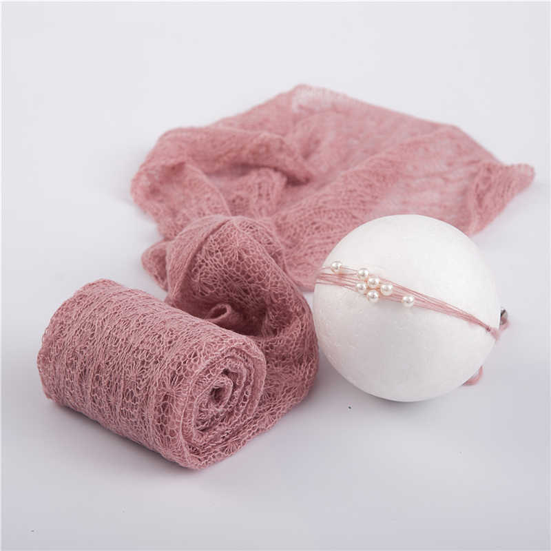 40*150 cm Newborn Baby Mohair Photography Wraps Blanket With Pearl Headband Headwear Infant Soft Knitted Wrap Cloth Accessories
