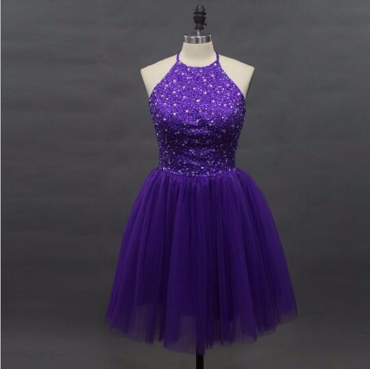 New Arrival Elegant Beaded Purple   Cocktail     Dresses   2016 Halter Off Shoulder Sleeveless Backless Tull Short Prom Party Gowns