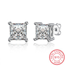 hot deal buy genuine 925 sterling silver jewelry big white square zircon stone earring stud fine jewelry for women party wedding jewelry