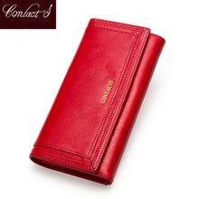 الاتصال جلد طبيعي المرأة المحفظة الإناث محفظة نسائية للعملات المعدنية Portomonee المشبك للحصول على حقيبة المال حامل بطاقة جيب للهاتف محافظ طويلة