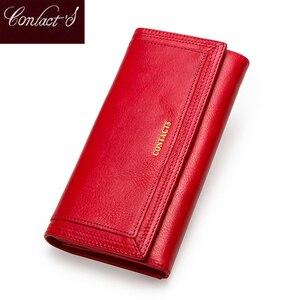 Image 1 - Contact en cuir véritable femmes portefeuille femme porte monnaie Portomonee pince pour sac dargent porte carte téléphone poche longs portefeuilles