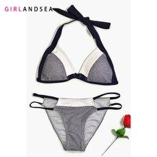 GIRLANDSEA New 2019 Low-waisted Bikini Set Patchwork Swimsuit
