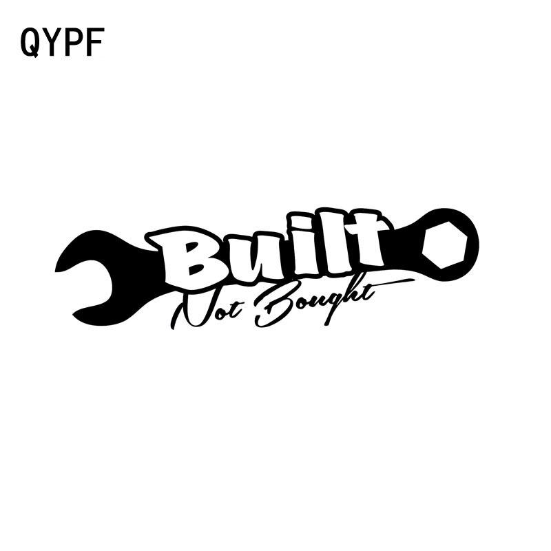 QYPF 15cm*5.5cm BUILT NOT BOUGHT Fashion Vinyl Car-styling Decals High-quality Car Sticker Black/Silver C15-0023