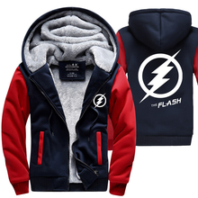 New Winter Coats The Flash hoodie Anime Justice League Hooded Thick Zipper Men  Sweatshirts Hot Sale USA EU size Plus size