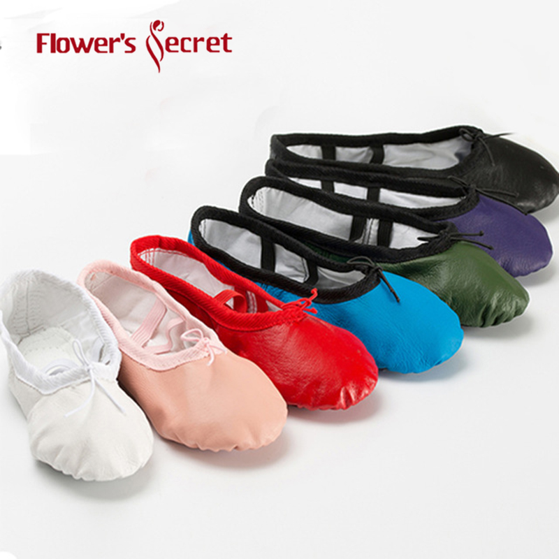 Flower's Secret Ballet Shoes For Women Girl Comfortable Breathable Pigskin Dance Shoes Adult Children Yoga Gym Dancing Shoes