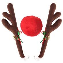 Новый оленьи рога Jingle Bells костюм Rudolph автомобиль Рождественский орнамент декор с носом автомобиля внешние аксессуары автомобиля стиль