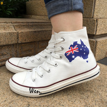 Wen 2017 Men Women's Canvas Shoes Design Australia Flag Map High Top White Sneakers for Christmas Birthday Gifts