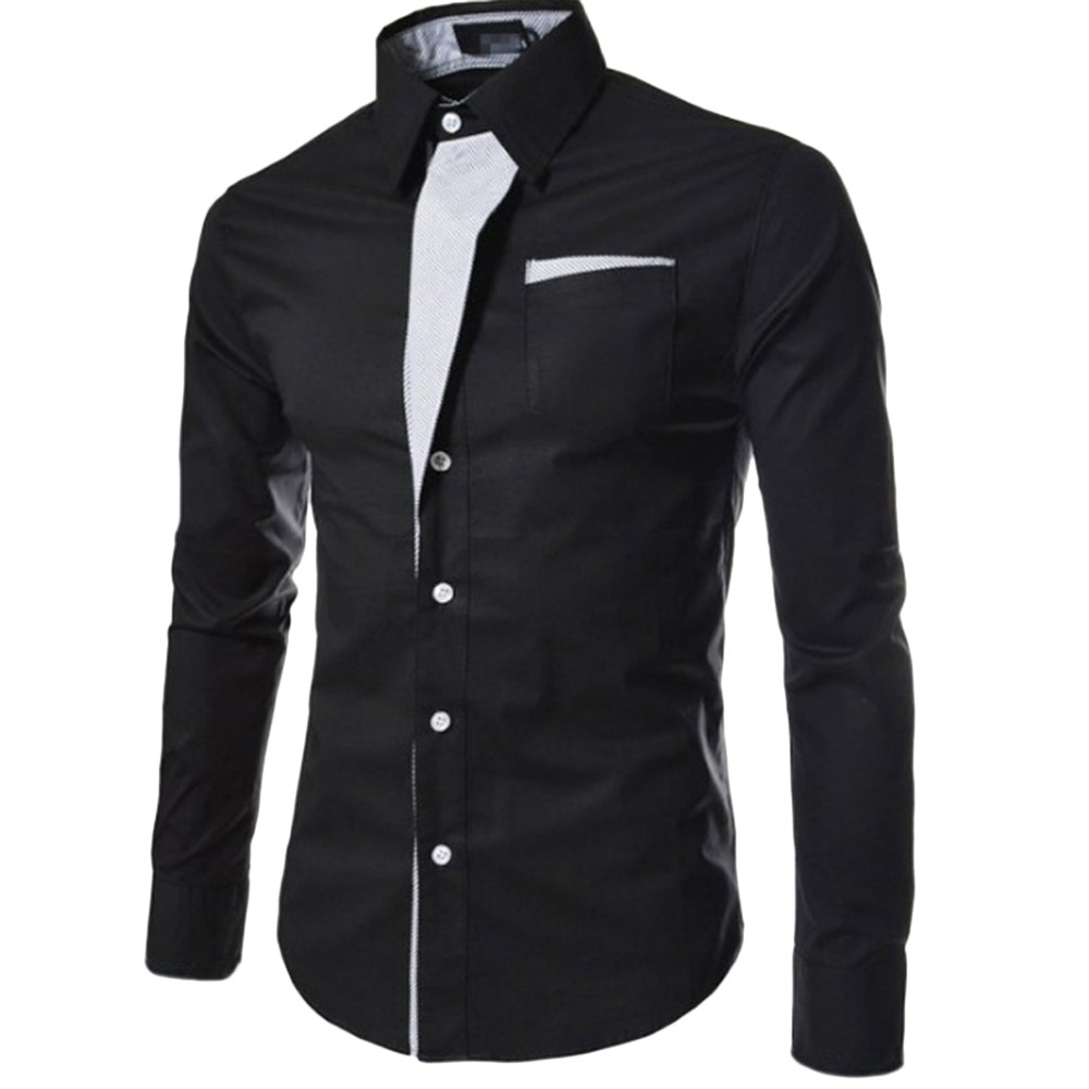 Men S Autumn Casual Formal Slim Fit Solid Long Sleeve