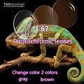 1.67 asférico lentes de prescripción de lentes de alta calidad gafas de lectura personalizada fotocromismo gris/marrón