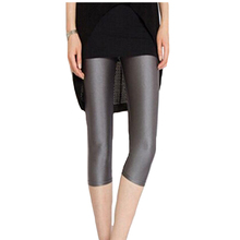 Shiny Leggings Pant Capris Spandex High-Waist Large-Size Summer Women Trousers Casual