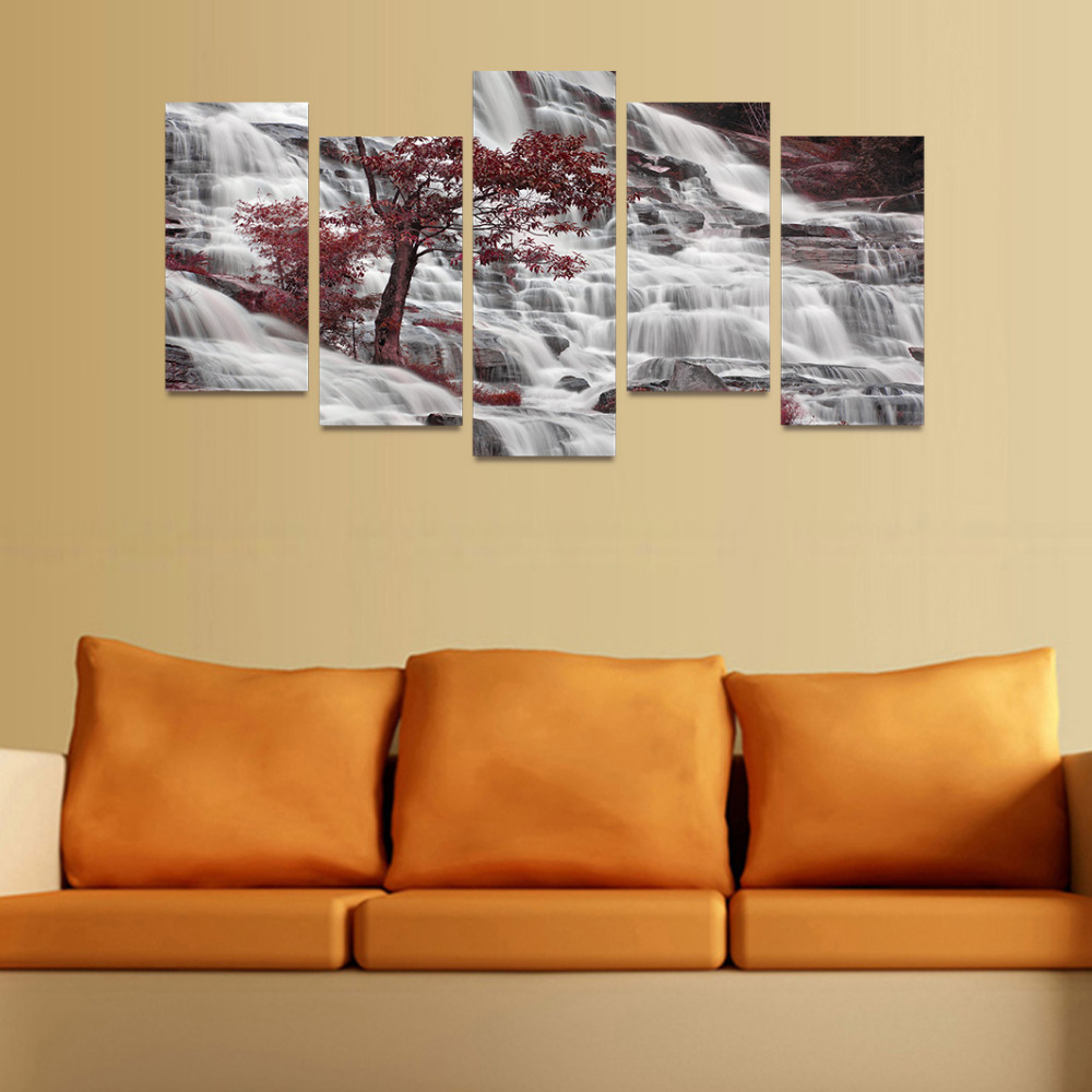 5 Panels Canvas Print Waterfall River And Red Trees Painting On ...