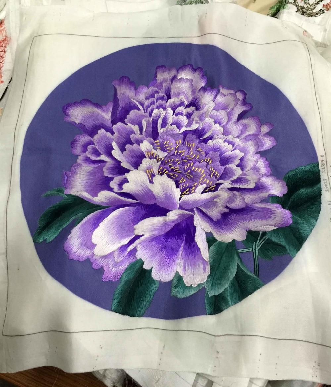Main Pur Point De Soie Broderie Peinture Arts Décor/Magnolia, Pivoine, fleur de Lotus, Japon Chlorophytum, papillon oiseaux