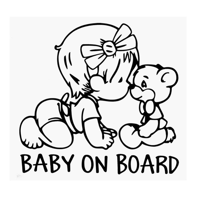 23cm22cm Baby On Board Cartoon Car Stickers Exterior Accessories