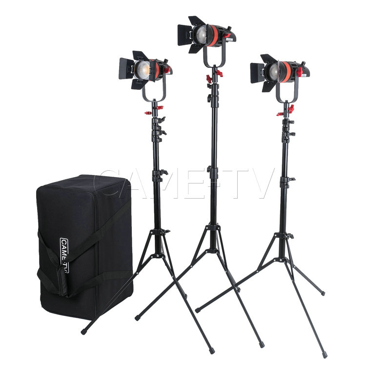 3 Pcs CAME TV Q 55S Boltzen 55w High Output Fresnel Focusable LED Bi Color Kit With Light Stands-in Photo Studio Accessories from Consumer Electronics