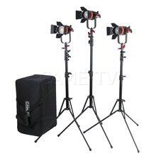 3 pièces CAME TV Q 55S Boltzen 55w haut rendement Fresnel focalisable LED Kit bicolore avec supports de lumière