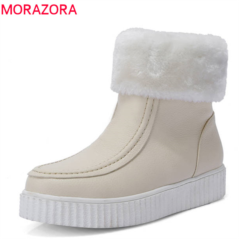 MORAZORA 2018 new arrival winter warm snow boots round toe ankle boots for women waterproof slip on fashion flat shoes antiskid 2015 new arrival fashion women winter snow boots warm ladies shoes bowtie slip on soft cute shoes purple color sweet boots