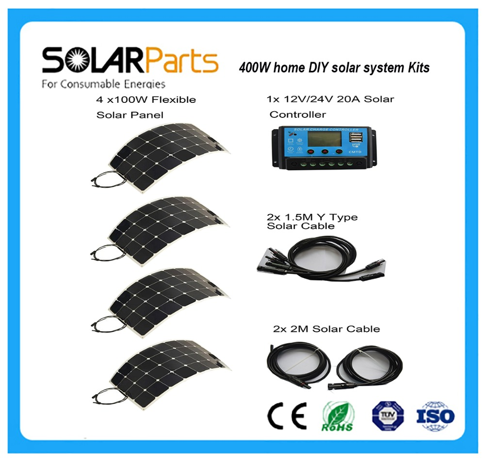 Solarparts 400W DIY Kits Solar System 4 x100W PV flexible solar panel 12V, 20A solar controller solar cell module RV outdoor fun solarparts 400pcs flexible solar cell 125 125mm back contact mono solar module 12v diy solar panel system kits rv marine camper
