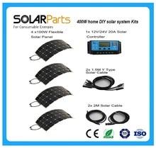 Solarparts 400 W DIY Kitleri Güneş Sistemi 4 adet 100 W PV esnek güneş paneli 12 V 20A güneş kontrol güneş pili modülü RV açık