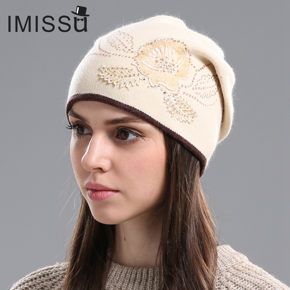 2e1f94c1ec3 IMISSU Women s Winter Hats Hot Sale Gorros for Female Knitted Wool Casual Beanie  Cap with Flower Pattern Gorros Thick Warm Hat-in Skullies   Beanies from ...