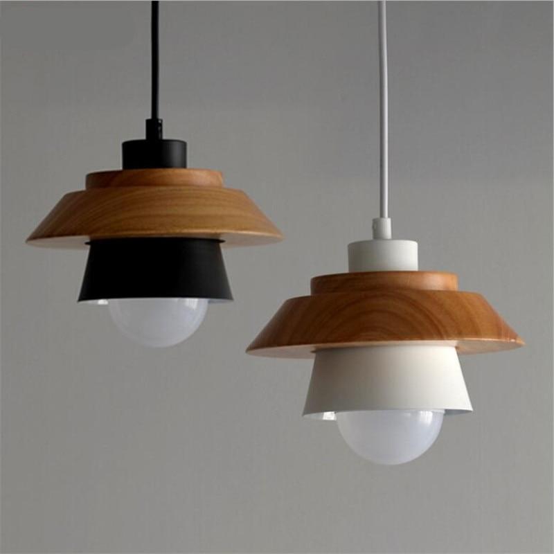 ФОТО Modern Nordic Black/White Iron Wood LED E27 Pendant Light For Dining Room Living Room Bedroom Bar Deco Lamps AC 80-265V 1978