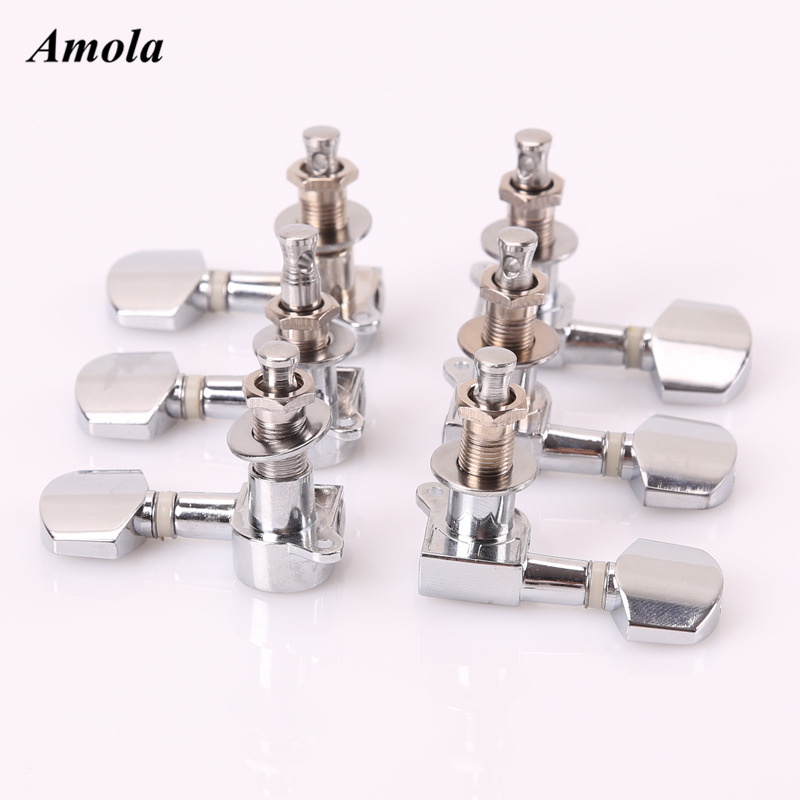6 Pieces Sliver Acoustic Guitar Machine Heads Knobs Guitar String Tuning Peg Tuner 3 Left And 3 Right a set of 6 pcs gold sealed gear string tuning peg tuner machine head for acoustic electric guitar