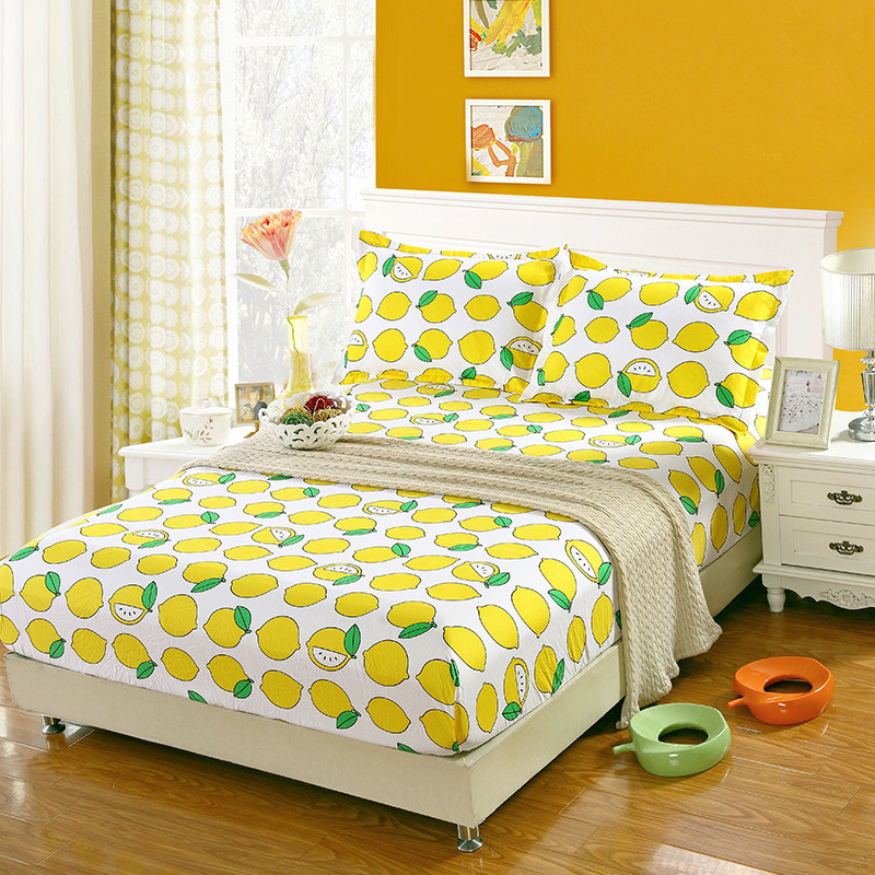 Home textile fitted sheet set 3pcs set one bed fitted sheet two pillowcases lemon bed cover