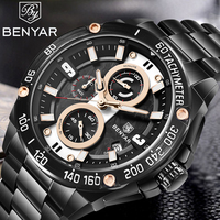 BENYAR Fashion Waterproof Military Quartz Mens Watches Stainless Steel Top Brand Luxury Sports Wristwatch relogio masculino 2019