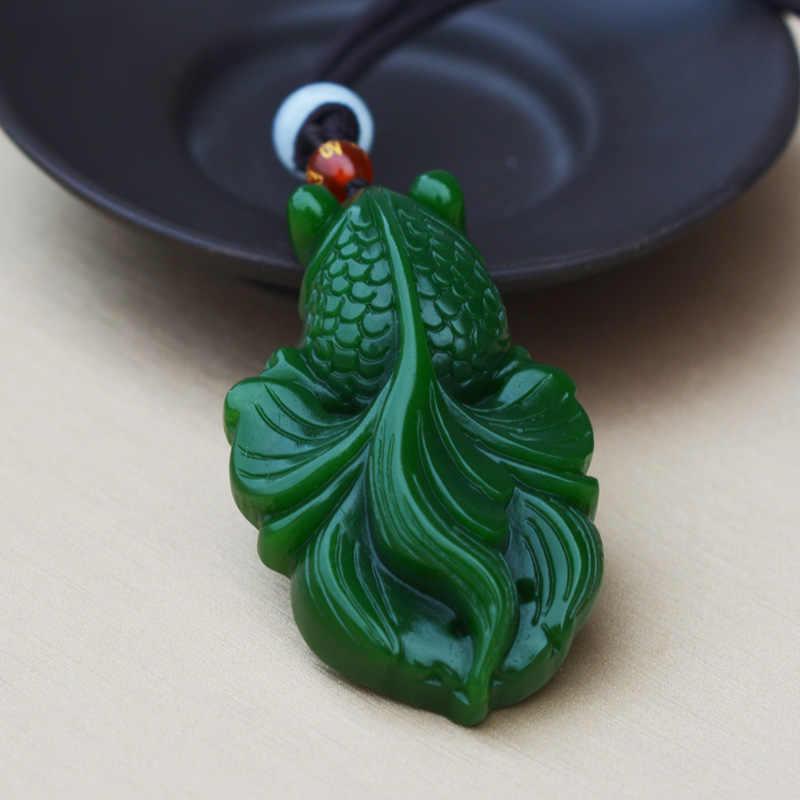 Alami Hetian Jasper Ikan Liontin Ukiran Tangan Carp Nephrite Liontin Kalung Terpasang Lanyard Halus Jade Perhiasan