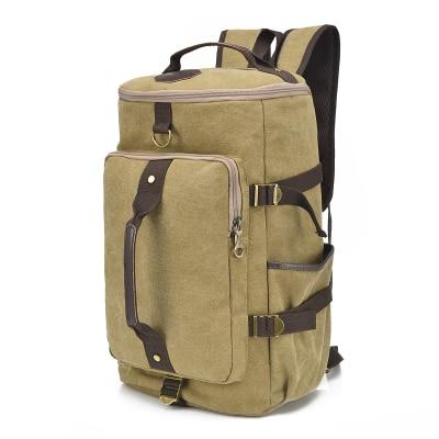 dd6d053e4b4b Large Capacity Travel Backpack For Men Retro Khaki Waterproof Canvas  Bagpack Weekend Duffle Bags Big Laptop Rucksack