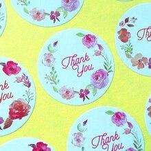 120pcs lot Round Vintage Flower print Thank you Adhesive Kraft Baking Seal Sticker gift stickers students