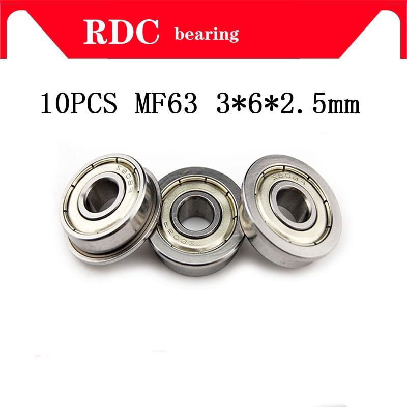 10pcs/Lot ABEC-5 MF63ZZ MF63Z MF63 ZZ LF630ZZ F673ZZ High Quality 3x6x2.5 Mm 3*6*2.5 Mm Steel Miniature Flange Flanged Bearing