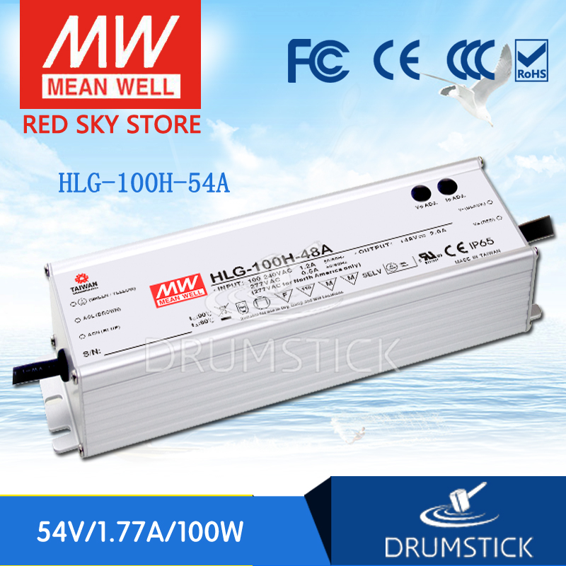 цена на Hot! MEAN WELL HLG-100H-54A 54V 1.77A meanwell HLG-100H 54V 95.58W Single Output LED Driver Power Supply A type